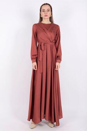 Puane Kuşaklı Saten Elbise Astarsız Bakır -pn12143