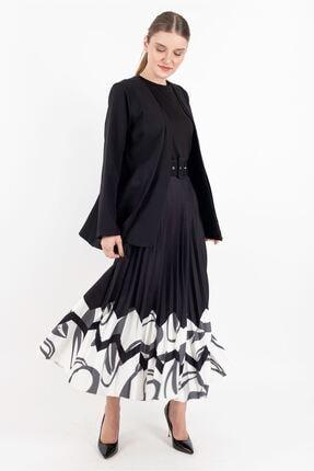 Puane Ceket Etek Ikili Takım Astarsız Siyah -pn14106