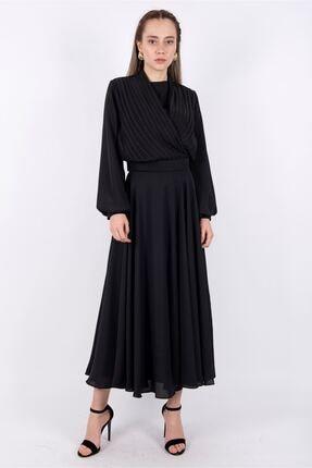 Puane Bluz Etek Ikili Takım Astarlı Siyah -pn14107