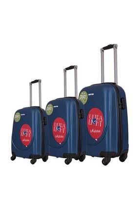 Laguna Pvc Valiz Bavul Seti Unisex Mavi