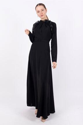 Puane Kadın Kemerli Maksi Elbise Astarsız Siyah -pn12162
