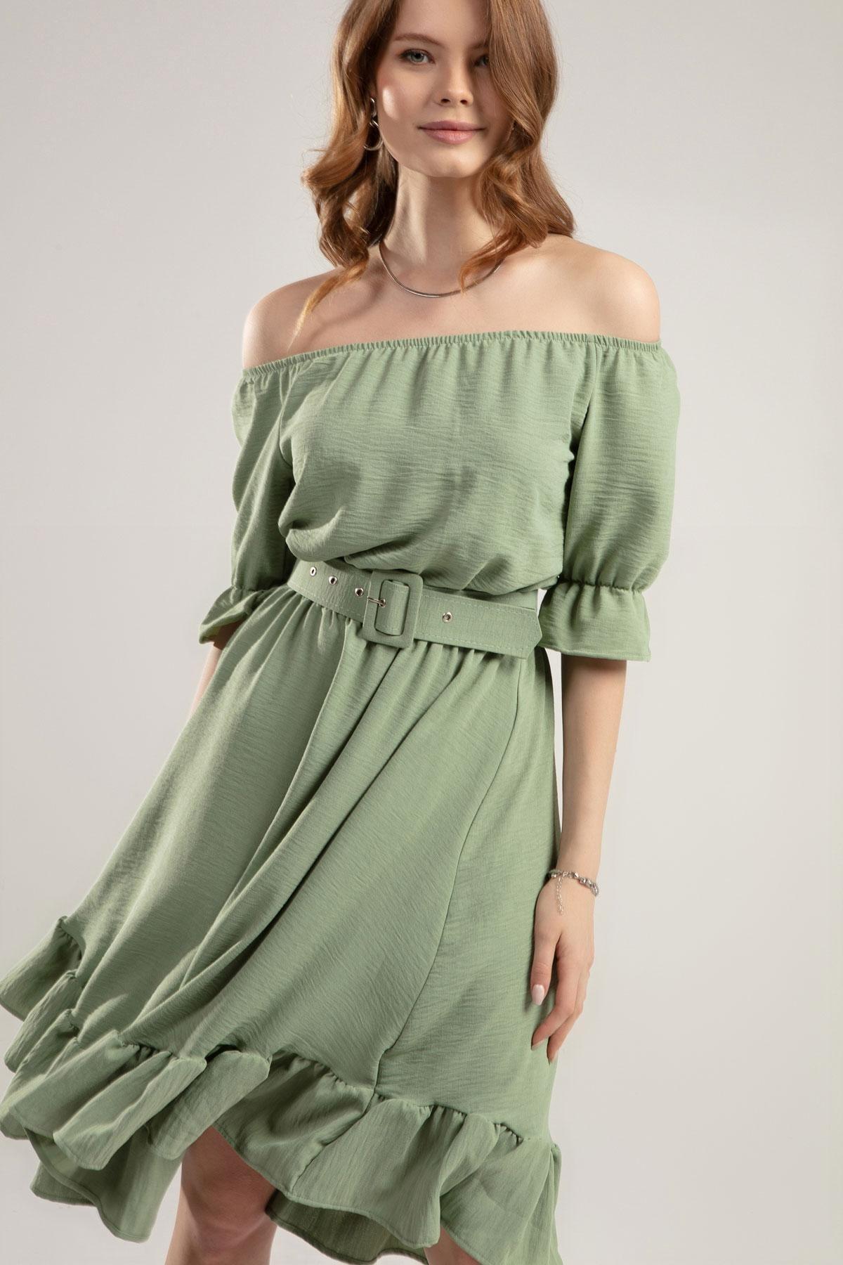 Y-London Kadın Yeşil Fırfırlı Bileği Beli Lastikli Krinkıl Straplez Elbise Y20S126-10565