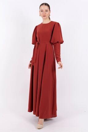 Puane Kadın Kiremit Pileli Maksi Astarlı Elbise-pn12159