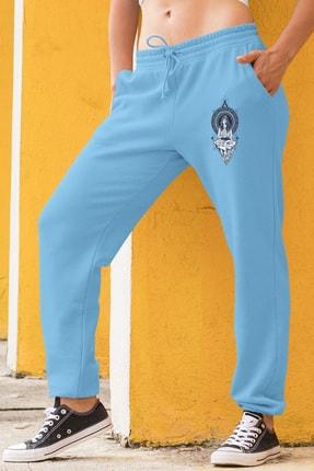 Angemiel Wear Yoga Yapan Kız Motifleri Mavi Kadın Eşofman Altı