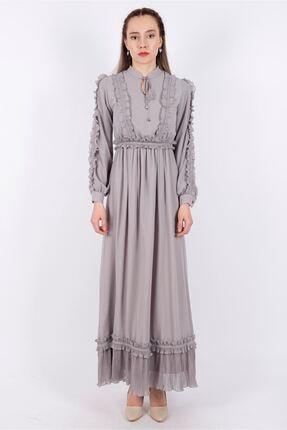 Puane Kadın Kuşaklı Şifon  Astarlı Gri Elbise