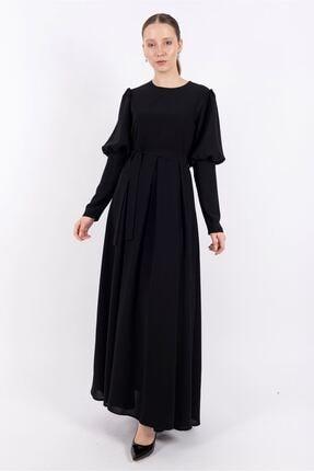 Puane Kadın Siyah Pileli Maksi Astarlı Elbise -pn12159