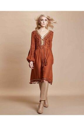 Serpil Kadın Kahverengi Nakış İşlemeli Püsküllü Elbise
