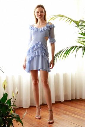 TrendyolMilla Mavi Cut Out Detaylı Elbise TPRSS20EL2076