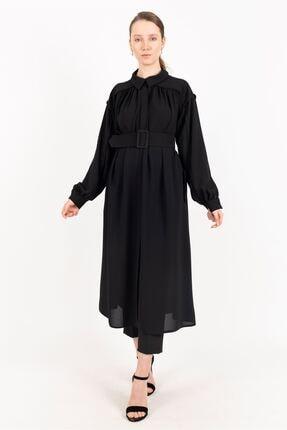 Puane Kemerli Uzun Tunik Astarsız Siyah -pn15082