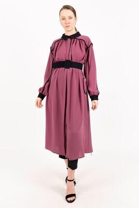Puane Kemerli Uzun Tunik Astarsız Rose -pn15082