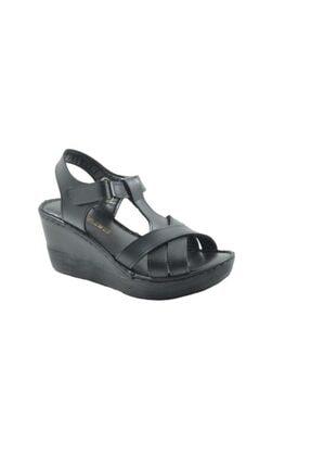 Punto Kadın Günlük Dolgu Topuk Ortopedik Sandalet Siyah 390101