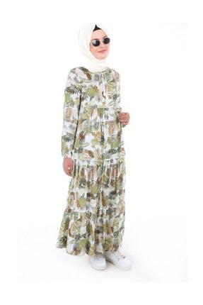 Bigdart Kadın Yaprak Desenli Yeşil Yaka Bağcıklı Tesettür Elbise 1627bgd19_303