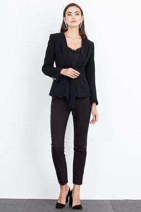 Moda İlgi Beli Kuşaklı Şal Yaka Ceket Siyah