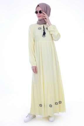 Bigdart Kadın Yaka İp Bağlama Nakışlı Elbise 1685