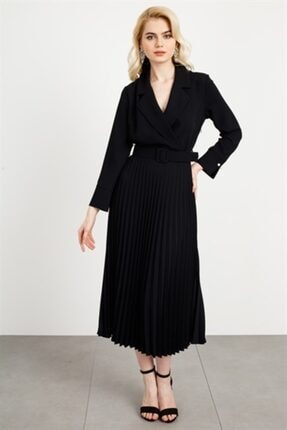 Moda İlgi Kadın Mono Yaka Pilisoley Elbise Siyah