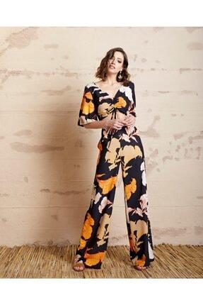 Serpil Kadın Siyah Safran Çiçek Desenli Pantolon 32764