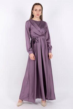 Puane Kadın Kuşaklı Saten Elbise