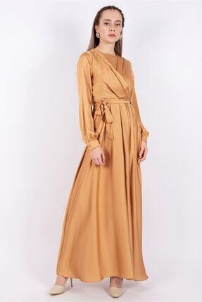 Puane Kuşaklı Saten Elbise Astarsız Hardal -pn12143