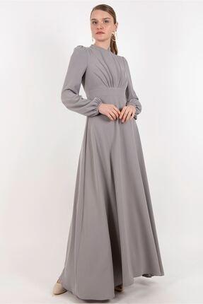 Puane Elbise Gri -pn12179