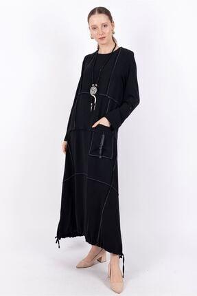 Puane Kolyeli Bohem Elbise Astarsız Siyah -pn10139