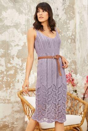Mispacoz Kadın Lila Askılı Fitilli Ince Triko Elbise