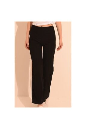 YOYOSO Kadın Siyah Yüksek Bel Kaşkorse Salaş Pantolon 1613