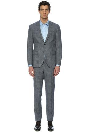 Erkek Kareli Açık Lacivert Takım Elbise 1067090
