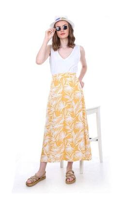 Bigdart Kadın Sarı Desenli Etek 1792bgd19_017
