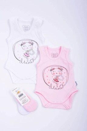 Minidamla Kız Bebek 2'li Kedili Badi 2'li Babet Çorap Set