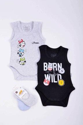 Minidamla Erkek Bebek 2'li Badi 2 Babet Çorap Set