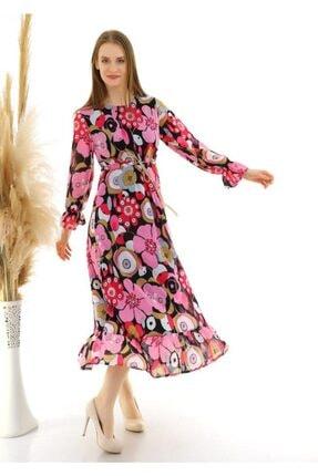 Ecce Kadın Çok Desenli Iç Astar Likralı Airobin Kumaş Elbise