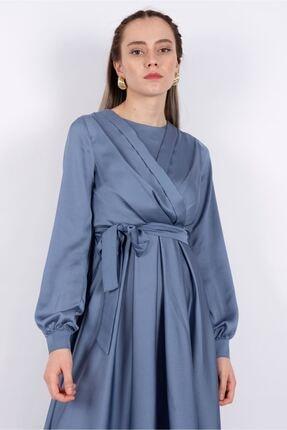Puane Kadın Kuşaklı Saten Elbise Astarsız Indigo -pn12143