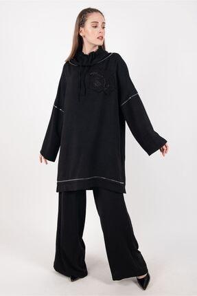 Puane Tunik Pantolon Ikili Takım Astarsız Siyah pn14103