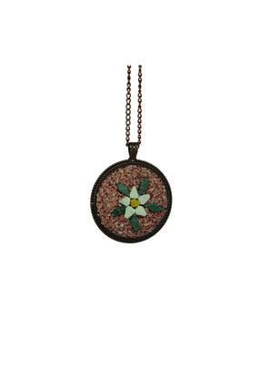 Emotion Handmade Doğal Taş Mozaik Çiçek Kolye N1066