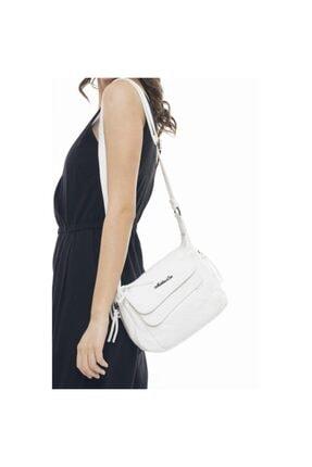 Matthew Cox Kadın Çapraz Çanta Yıkanmış Deri Ykm2167 Beyaz