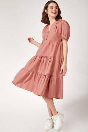 Bigdart Kadın Kat Kat Karpuz Kol Elbise 1937