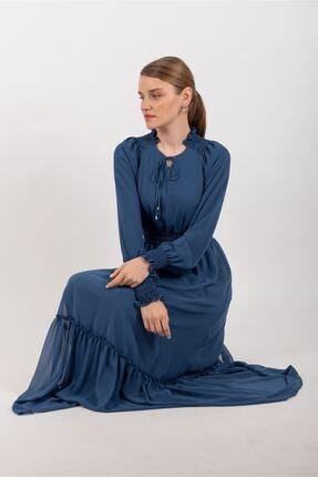 Puane Beli Lastikli Şifon Elbise Astarlı Indigo -pn12137