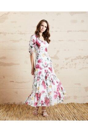 Serpil Kadın Ekru Çiçek Desenli Elbise 32503