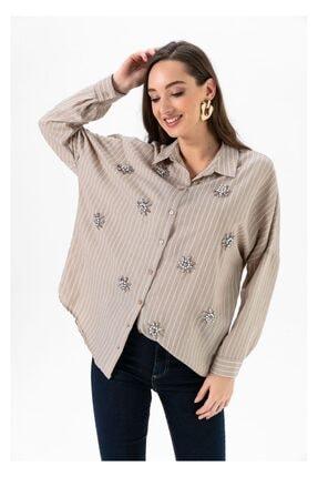 Tiffany A0109 Idalina Çizgili Taşlı Gömlek