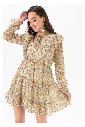 Tiffany A0208 Fırfırlı Çiçek Desen Elbise