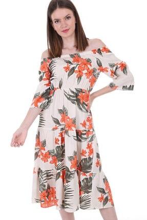 Bigdart Kadın Çiçek Turuncu Omuz Lastik Desenli Elbise 1710bgd19_268