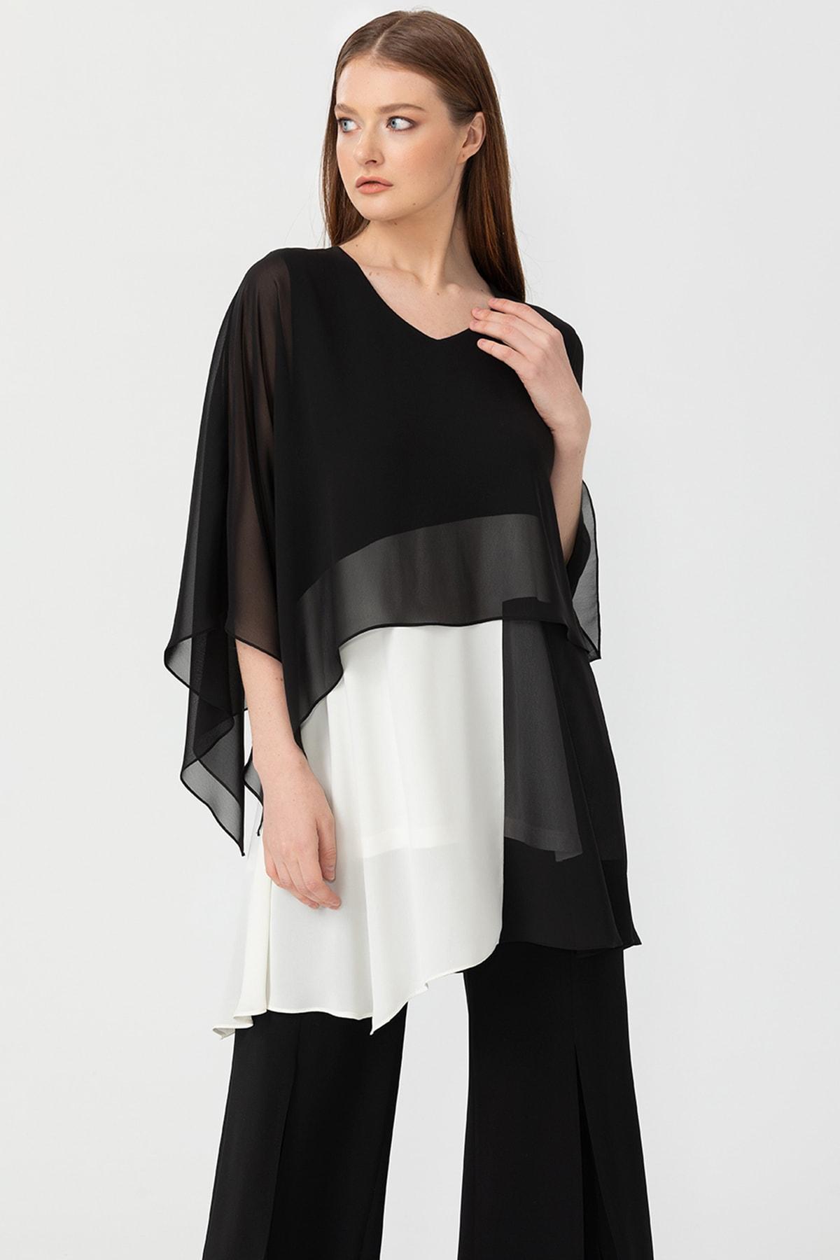Seçil Kadın Siyah Şifon Katlı Bluz 10100120204055