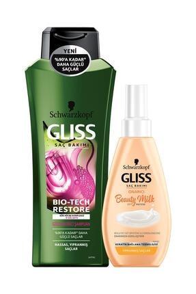 Gliss Bıo-Tech Restore Şampuan 525 ml +  Glıss Mılk-Onarıcı 150 ml
