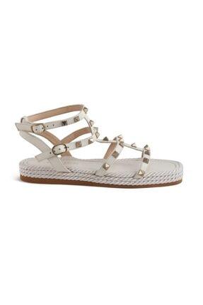 Sofia Baldi Cıclamıno Beyaz Deri Pimli Kadın Düz Sandalet