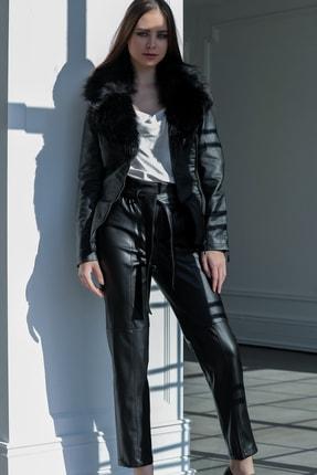 Ayhan Yüksek Bel Bağlama Detaylı Bayan Deri Pantolon - 7930 Siyah