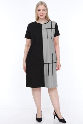 Lir Kadın Büyük Beden Yarım Kol Elbise Gri