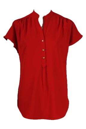 Dik Yaka Kısa Kollu Bluz - 81201 Kırmızı 81201-K