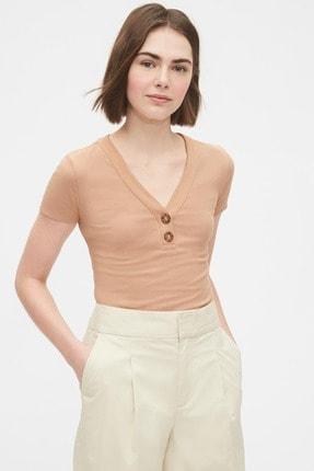 Gap Kadın Henley V Yaka T-Shirt 530331