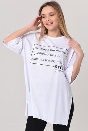 YOYOSO Kadın Beyaz Style Your Life Salaş Tshirt 7354