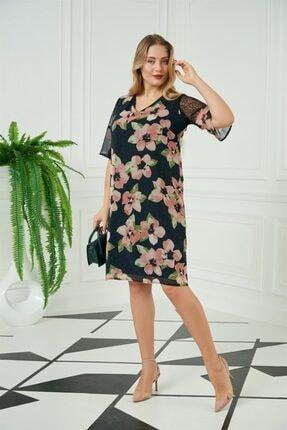 Rmg Omuz Tül Detaylı Çiçekli Büyük Beden Elbise - 4110 Siyah